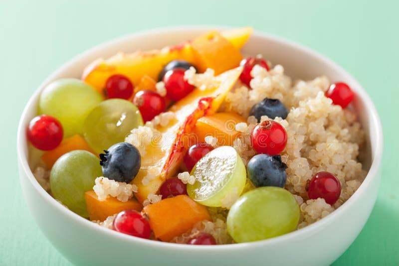 Sund frukostquinoa med G för blåbär för fruktbärnektarin royaltyfri fotografi
