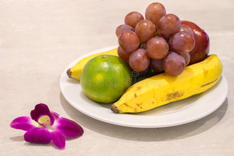 Sund fruktbakgrund, studiofoto av olika frukter på trätabellen arkivbilder