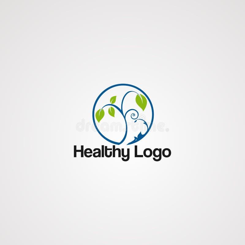 Sund grön logovektor, symbol, beståndsdel och mall stock illustrationer