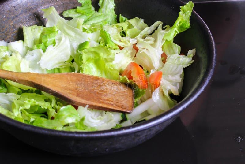 Sund gr?nsaksallad av den ny tomaten, gurkan, l?ken, spenat, gr?nsallat och sesam p? plattan arkivfoton