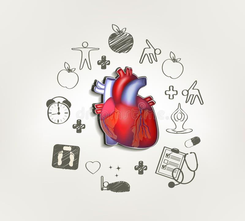 sund hjärta royaltyfri illustrationer
