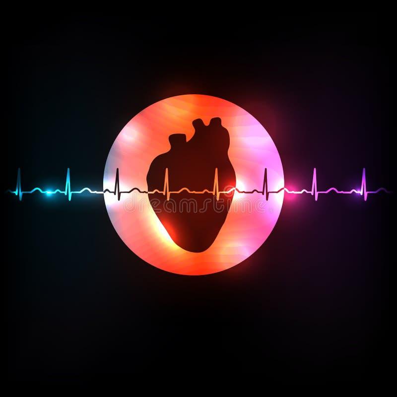 Sund hjärta i den runda formen vektor illustrationer