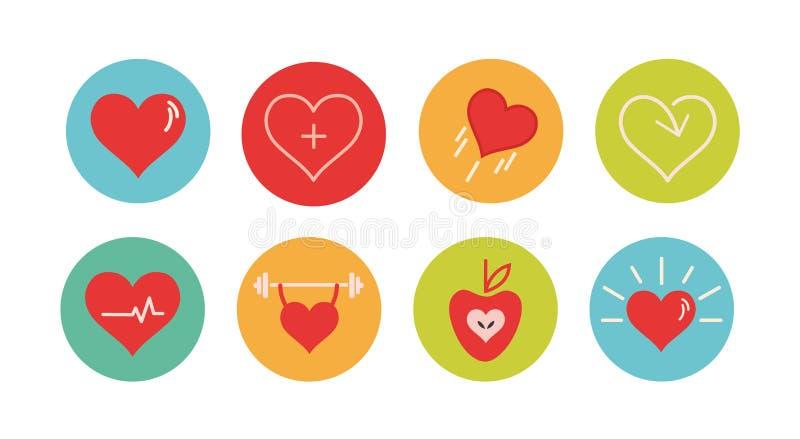 Sund hjärtasamling stock illustrationer
