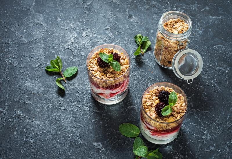 Sund i lager efterrätt med yoghurten, granola, driftstopp, björnbär i exponeringsglas på stenbakgrund royaltyfria foton
