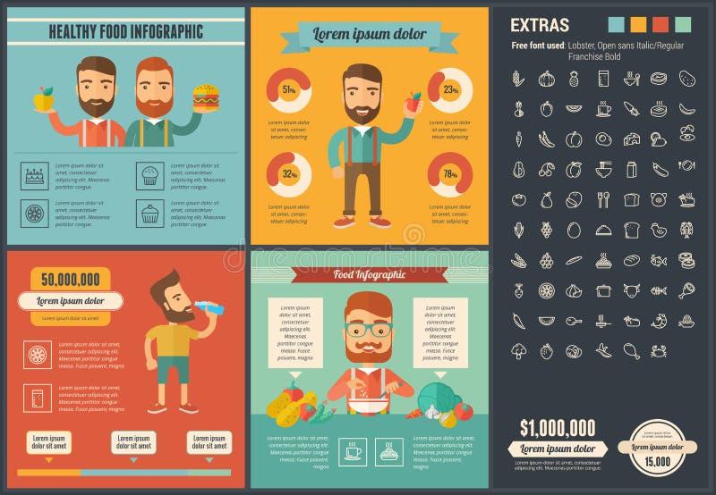 Sund Infographic för matlägenhetdesign mall vektor illustrationer