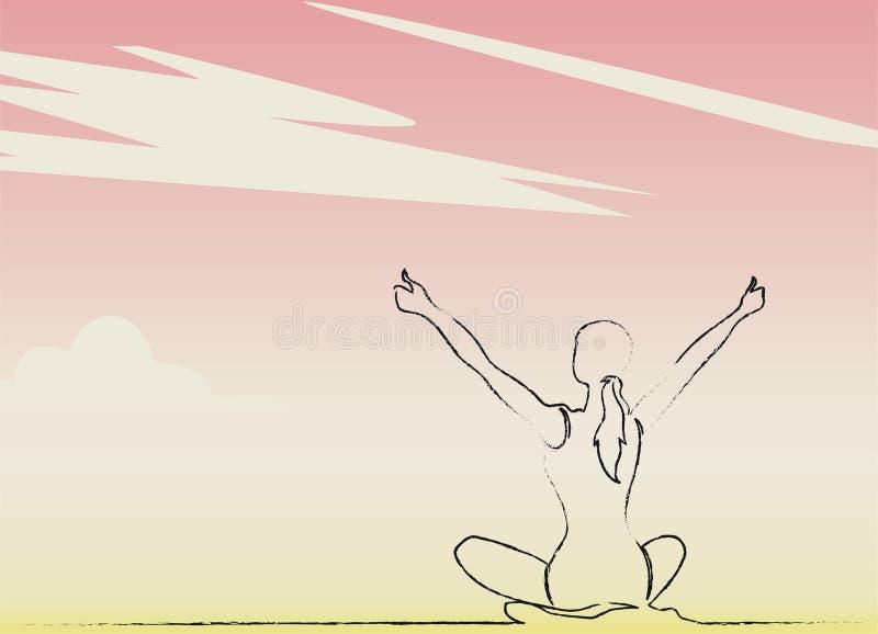 Sund kvinna som firar under stock illustrationer