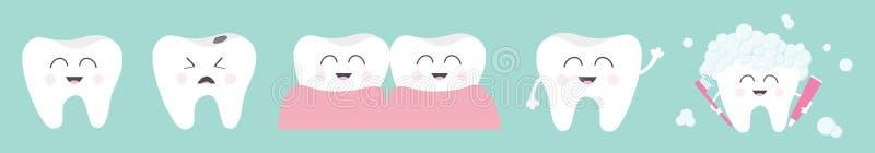 Sund le fastst?lld linje f?r vit tandsymbol Skum f?r tandborstetandkr?mbubbla Gr?ta d?liga d?ligt t?nder F?r efter begrepp gullig vektor illustrationer
