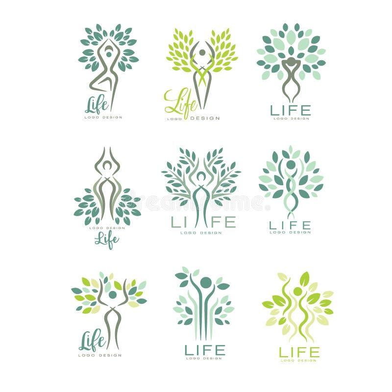 Sund livlogo för wellnessmitt, brunnsortsalong eller yogastudio Harmoni med naturen Uppsättning av plana vektoremblem med royaltyfri illustrationer