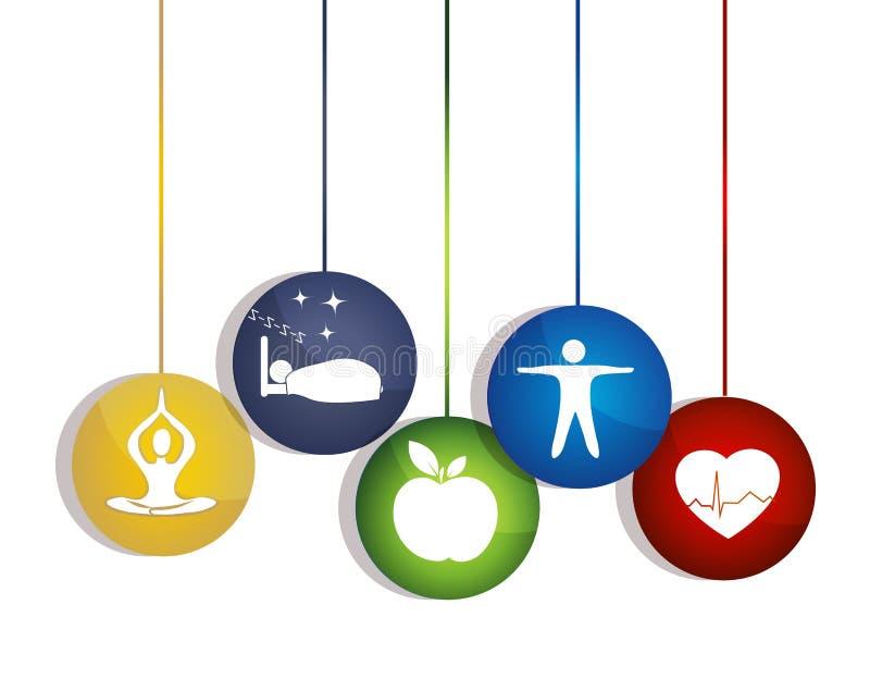 Sund livsföring. Vägar att underhålla en sund hjärta. stock illustrationer