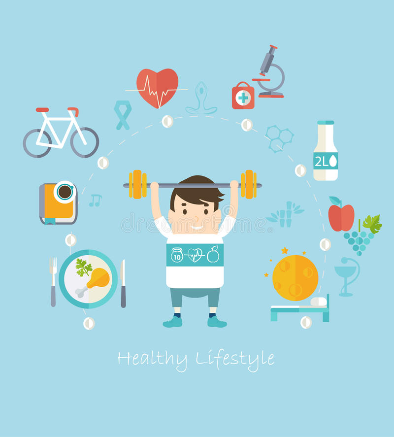 sund livsstil för begrepp stock illustrationer