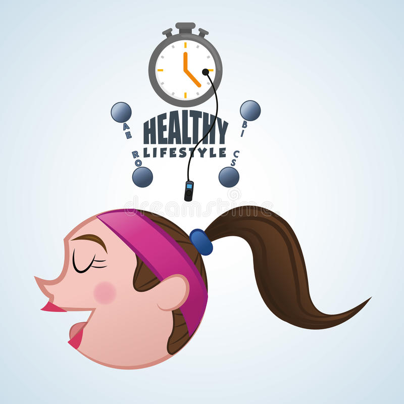 Sund livsstildesign Bodycare symbol illustration vektordiagram royaltyfri illustrationer