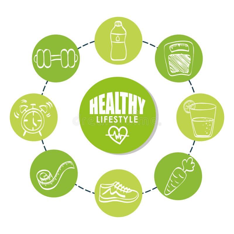 Sund livsstildesign Bodycare symbol Plan illustration stock illustrationer