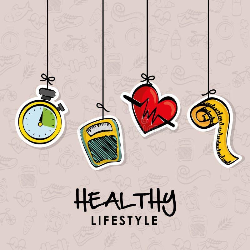 Sund livsstildesign Bodycare symbol Plan illustration vektor illustrationer