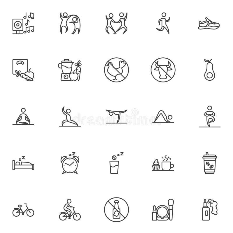 Sund livsstillinje symbolsupps?ttning vektor illustrationer