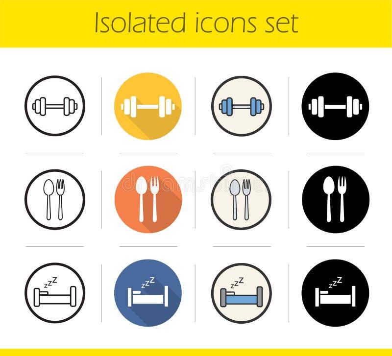 Sund livsstilsymbolsuppsättning stock illustrationer