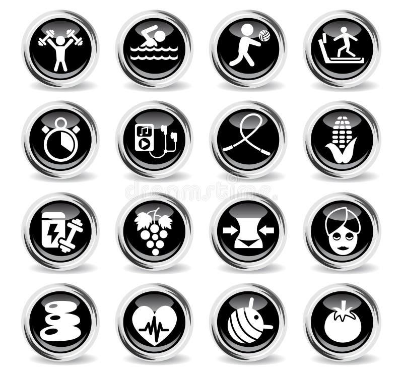 Sund livsstilsymbolsuppsättning royaltyfri illustrationer