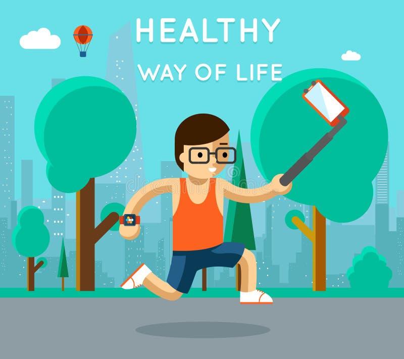 sund livstid långt Sportmonopodselfie parkerar in royaltyfri illustrationer