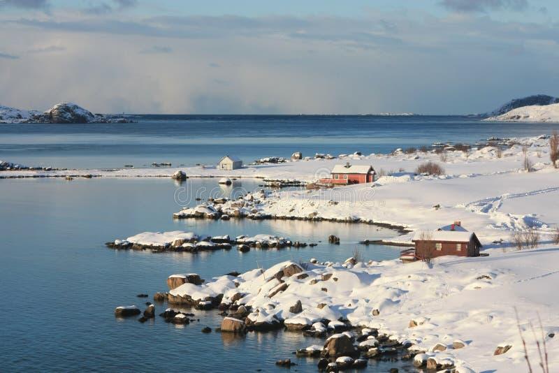 Sund in Lofoten. Fishermen's cabin on Lofoten's islands fjord of Napp royalty free stock photos