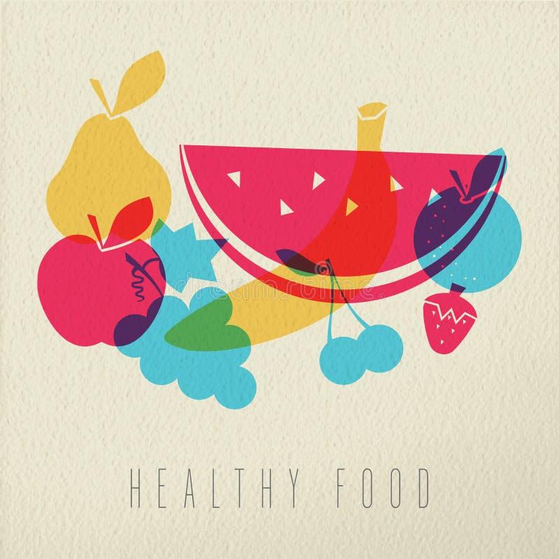 Sund mat bantar design för färg för fruktbegreppsillustration stock illustrationer