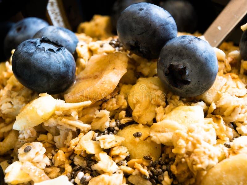 Sund mat för läcker tropisk mysli för frukost med granola, toppet sunda, rik chiafrö för omega-3 och för fiber och nytt royaltyfria foton