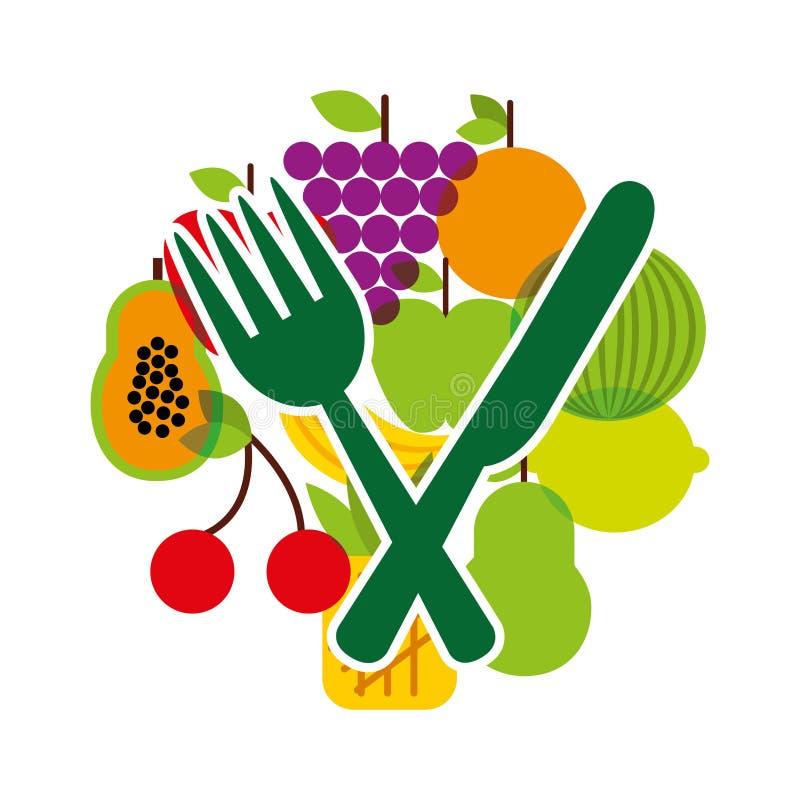 sund mat för vegetarisk meny royaltyfri illustrationer