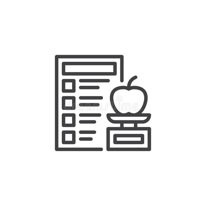 Sund mat och att banta planera linjen symbol vektor illustrationer