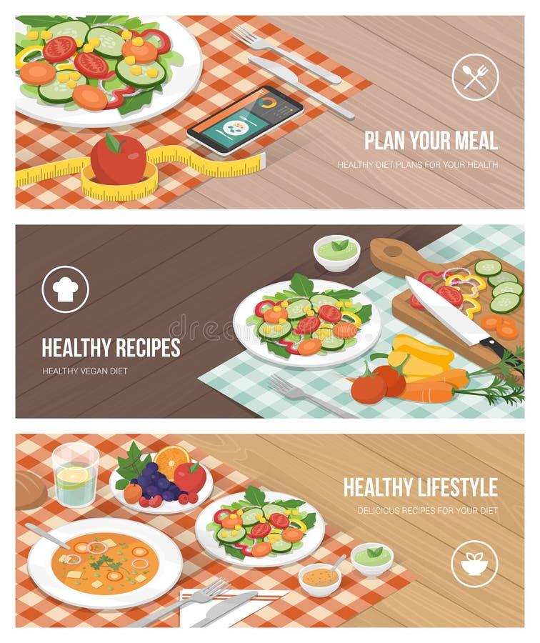 Sund mat och bantar stock illustrationer