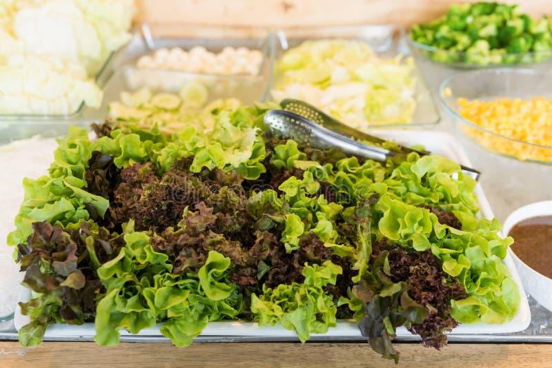 sund mat salladstång med nya grönsaker royaltyfri foto
