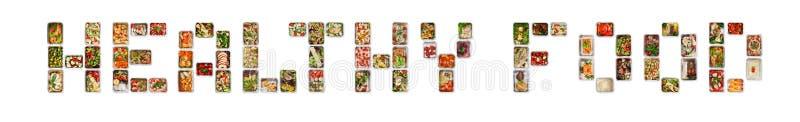 Sund mat som är skriftlig med folie, boxas med konditionnäring royaltyfri fotografi