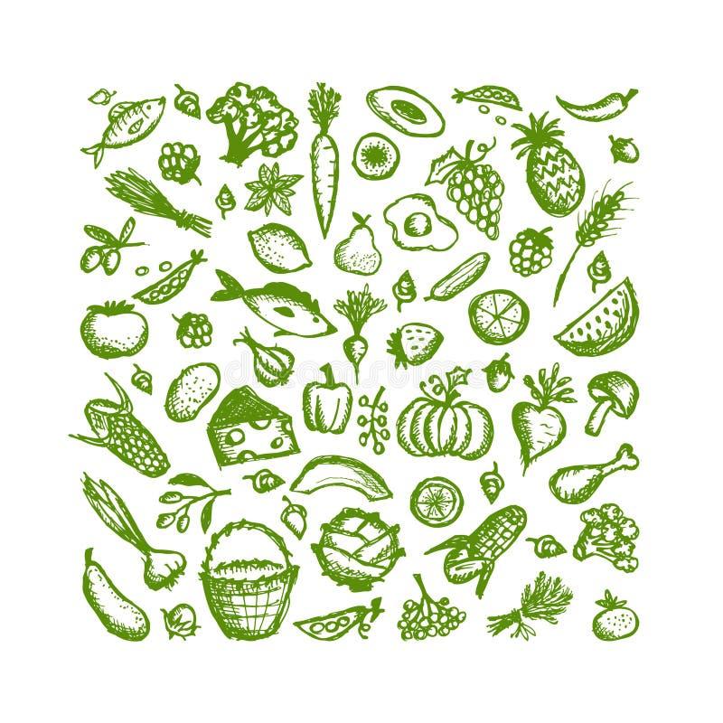 Sund matbakgrund, skissar för din design stock illustrationer