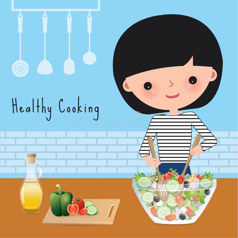 Sund matlagning för kvinna i köket stock illustrationer