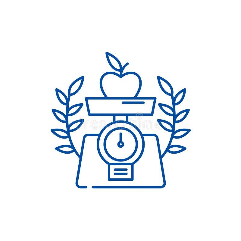 Sund matlinje symbolsbegrepp Plant vektorsymbol för sund mat, tecken, översiktsillustration royaltyfri illustrationer