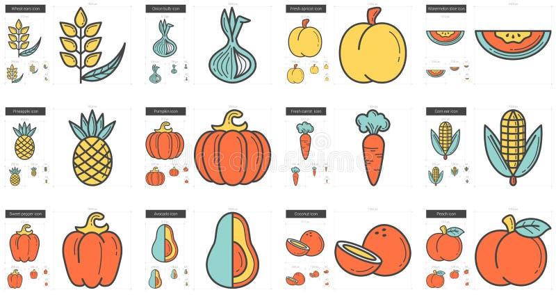 Sund matlinje symbolsuppsättning royaltyfri illustrationer
