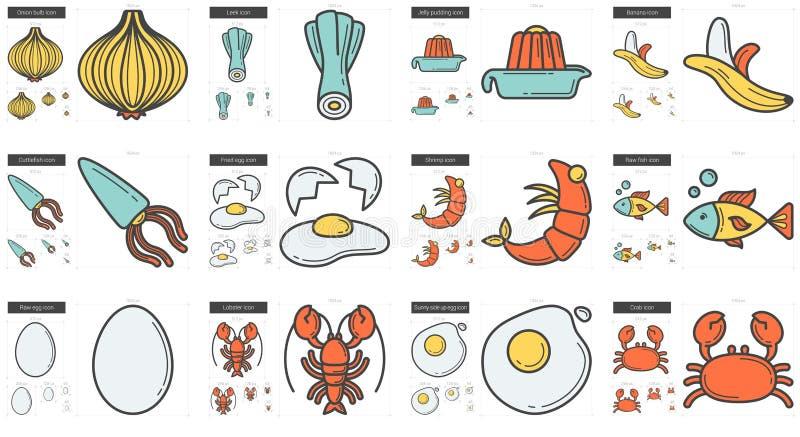 Sund matlinje symbolsuppsättning vektor illustrationer