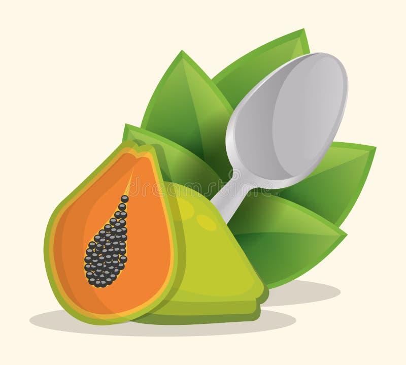 sund matmeny för papaya royaltyfri illustrationer
