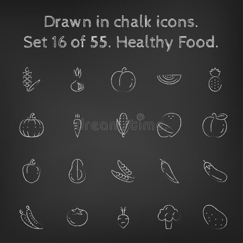 Sund matsymbolsuppsättning som dras i krita vektor illustrationer