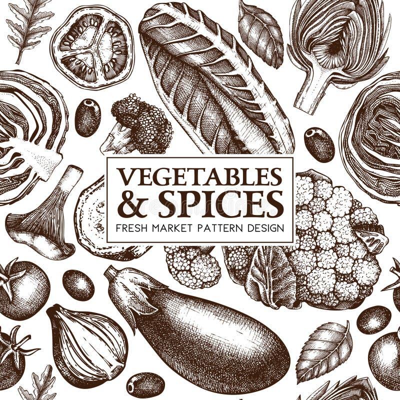 Sund matvektorbakgrund Den sömlösa modellen med grönsaker, champinjoner och kryddor för hand utdragna skissar Lantgårdmarknadsdes vektor illustrationer