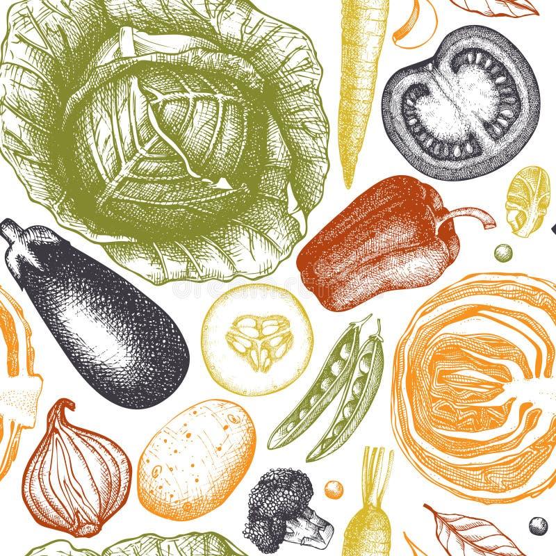 Sund matvektorbakgrund med utdragna grönsaker för färgpulverhanden skissar Sömlös modell för tappning med nya produkter Organisk  vektor illustrationer