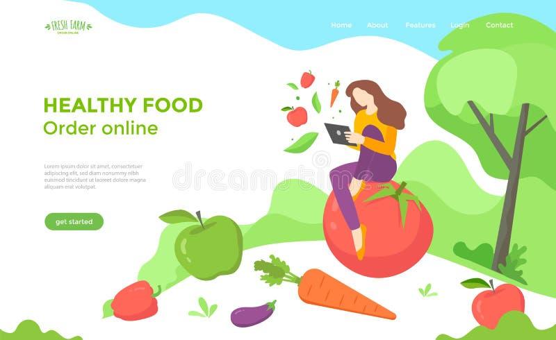 Sund matwebbsidadesign med grönsaker royaltyfri illustrationer