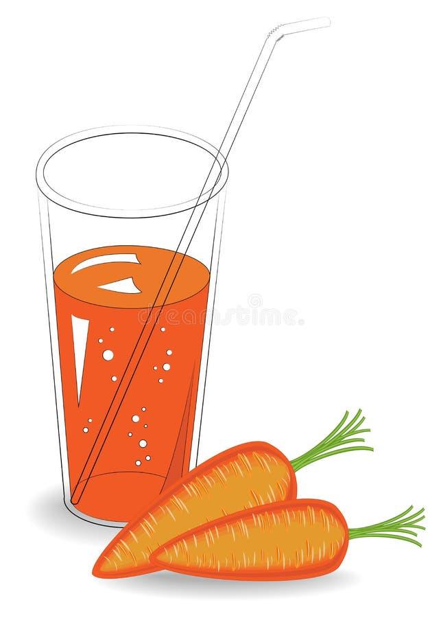 Sund medicinsk och smaklig drink I ett exponeringsglas av naturlig grönsakfruktsaft och mogna fruktmorötter ocks? vektor f?r core royaltyfri illustrationer