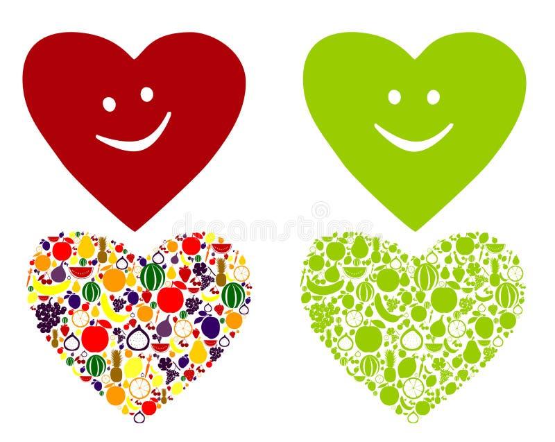 Sund och lycklig hjärta royaltyfri illustrationer