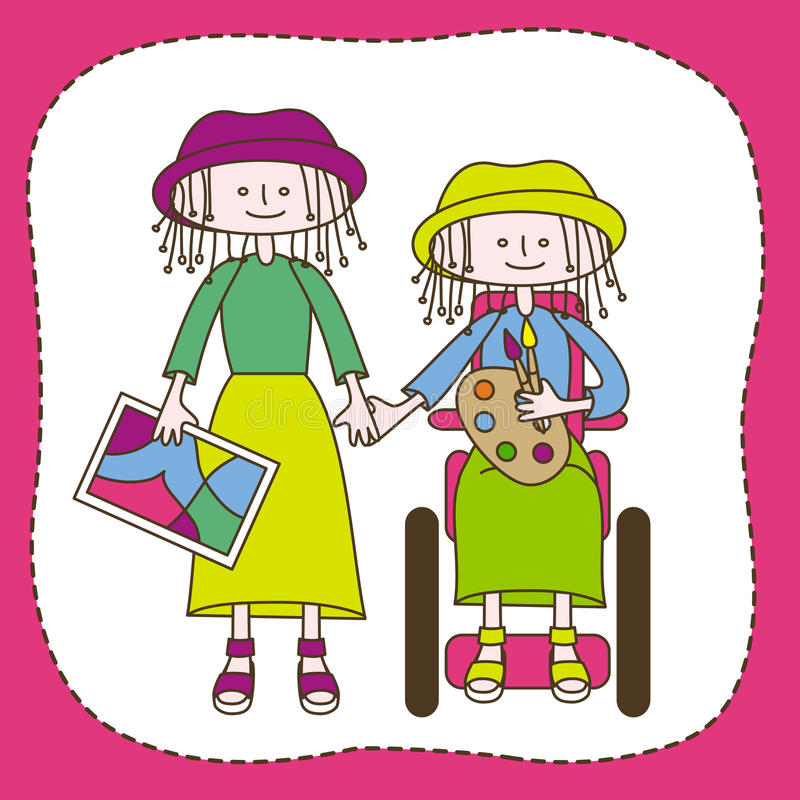 Sund och rörelsehindrad tonår royaltyfri illustrationer