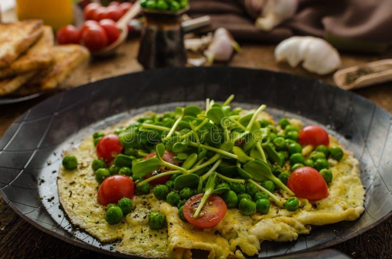 Sund omelett med grönsaker arkivfoto
