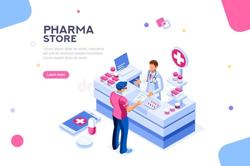 Sund patient och apotekare Infographic Isometric Vector vektor illustrationer