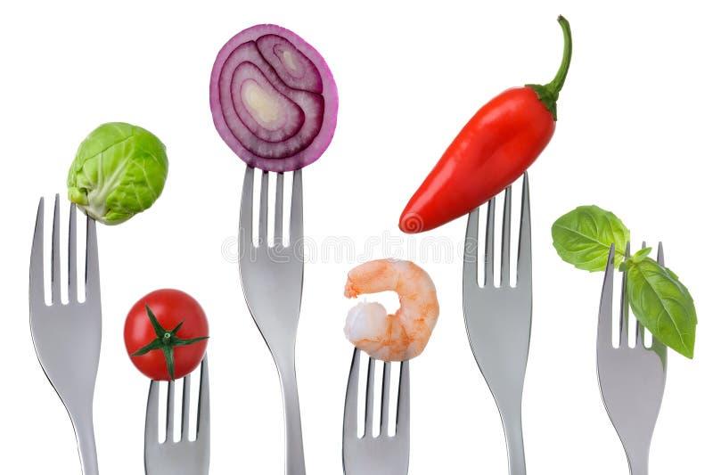 Sund pescetarian mat på vit arkivbild