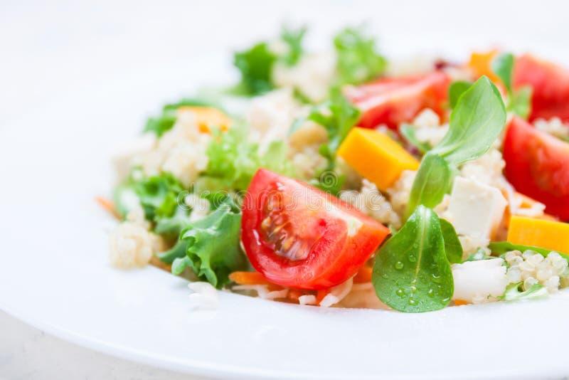 Sund sallad för hemlagad höst med quinoa-, salladsida-, tomat-, pumpa- och fetaost på en vit platta fotografering för bildbyråer