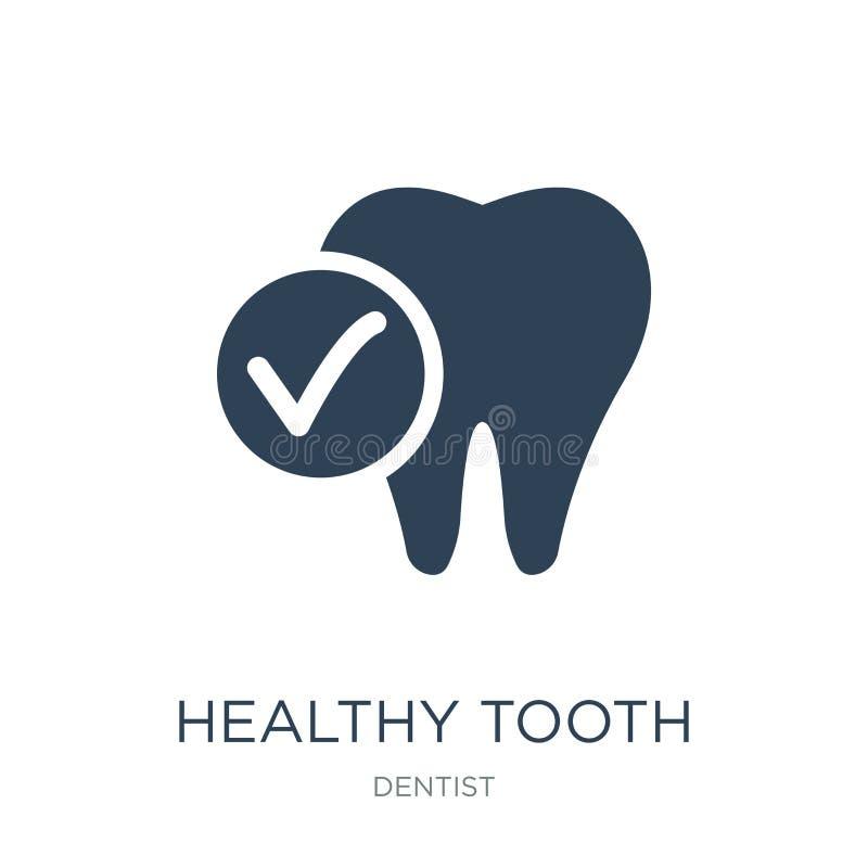 sund tandsymbol i moderiktig designstil sund tandsymbol som isoleras på vit bakgrund sund enkel tandvektorsymbol och vektor illustrationer