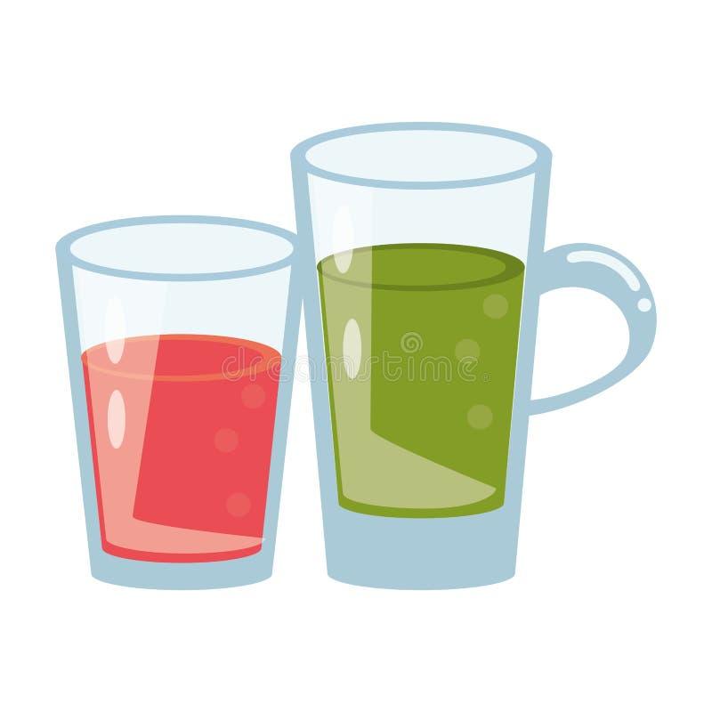 Sund tecknad film för drinkfruktsaftnatur stock illustrationer