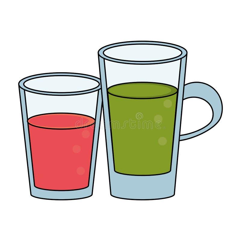 Sund tecknad film för drinkfruktsaftnatur vektor illustrationer