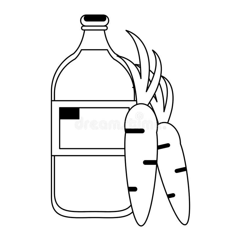 Sund tecknad film för drinkfruktsaftnatur i svartvitt stock illustrationer